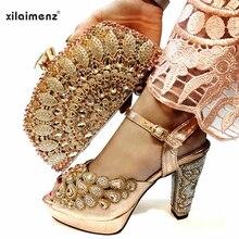 مجموعة الأحذية والحقائب لعام 2019 أحذية إيطالية بلون الخوخ مع حقائب مطابقة أحذية عالية الجودة للنساء وحقيبة مناسبة للحفلات