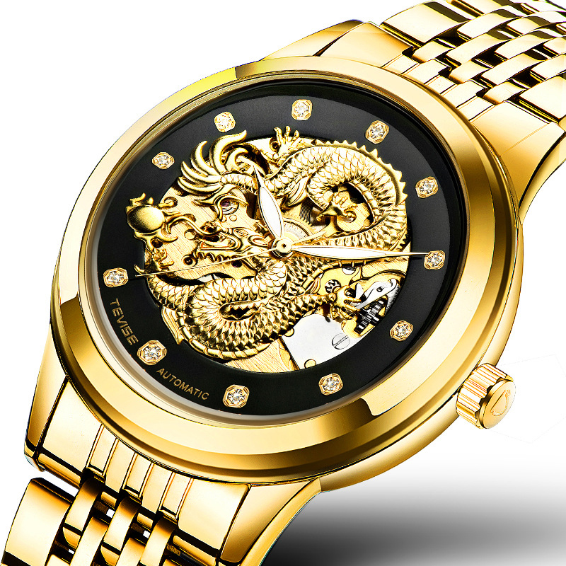 NEW Luxury man watches Automatic Self-Wind Mechanical Wristwatches with dragon waterproof luminous Perspective window 9006 original binger mans automatic mechanical wrist watch date display watch self wind steel with gold wheel watches new luxury