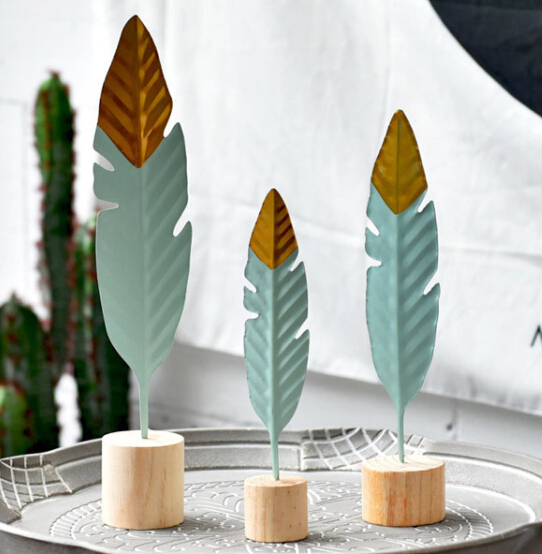 3pcs/lot Nodic Style 24,29,36CM Big Iron Feather design Desktop Figurines Shelf Craft Miniatures Creative Gift Home Furnishings