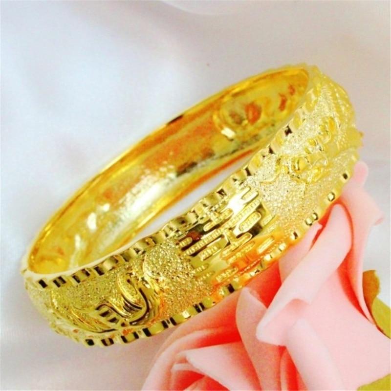 FREE SHIPPING 24K Plated 1:1 Quality Hongkong Gold Shop Handmade Carved Dragon & Phoenix Bangles Bracelets Wedding Jewelry