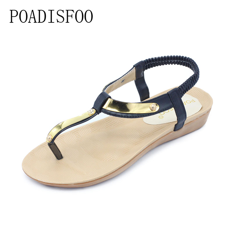 POADISFOO 2018 New Summer Metal three color choose Bohemian Simpal style sandals toe Roman casual shoes For Women .HYKL-8803 poadisfoo 2017 summer style women sandals new section with a sexy open toe simple roman word buckle sandals wcf 7029
