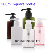 100 мл 300 шт высокого качества, квадратные ПЭТ пластиковые контейнеры бутылки для крема, емкость с дозатором для лосьона