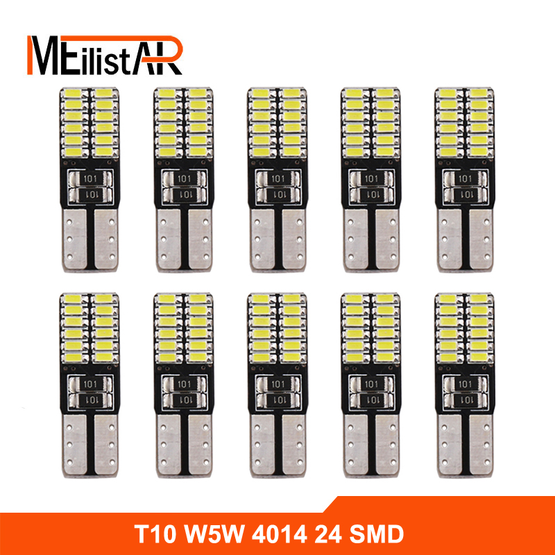 10X Super bright 24 SMD 4014 led car light 12V w5w T10 led auto canbus cob externa clearance bulb door reading lamp turn signal