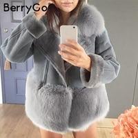 BerryGo Grey streetwear faux fur teddy jacket Women autumn patchwork chic winter coat china Suede leather womens fur outerwear