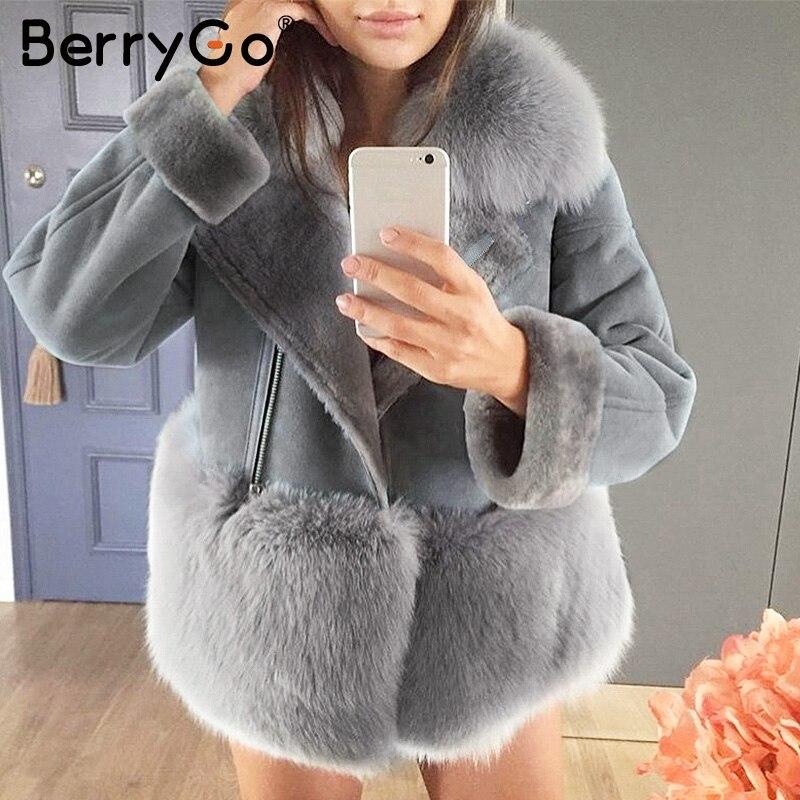 BerryGo Gris streetwear faux de fourrure en peluche veste Femmes automne patchwork chic hiver manteau chine En Daim en cuir femmes fourrure survêtement
