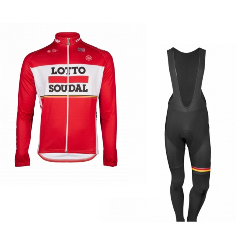 winter fleece pro team lotto soudal red Cycling jersey set long sleeve warmer bike clothing MTB Ropa Ciclismo Bicycle maillot pro team long sleeve cycling jersey women 2017 ropa ciclismo mujer winter fleece mountan bike wear clothing maillot cycling set
