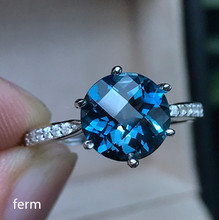 KJJEAXCMY boutique jewelry  925 sterling silver inlaid natural London Blue Topaz round jewelry ring for women helon sterling silver 925 flawless 8mm round 2 4ct natural white topaz engagement wedding ring for women trendy fine jewelry