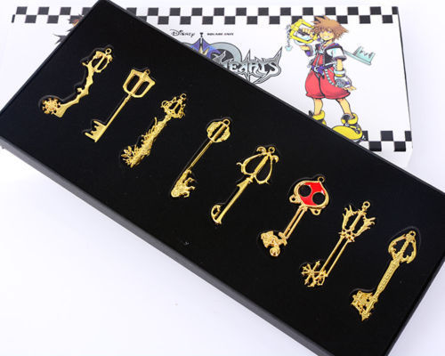 8PCS Kingdom Hearts II KEY BLADE Sora Necklace Keyblade Pendant Weapons Set New Gift Free Shipping Gold Color