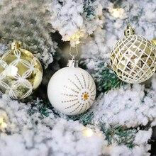 24Pcs/Lot Christmas Tree Hanging Balls 6cm Silvery Gold Snowflake Color Drawing Decor Ball Xmas Home Party Wedding Ornament P20