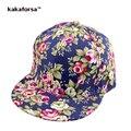 Kakaforsa mujeres flores impresión de algodón gorras de béisbol hombres snapback ajustable sombreros hueso hip hop casquillo del camionero sombreros casquette