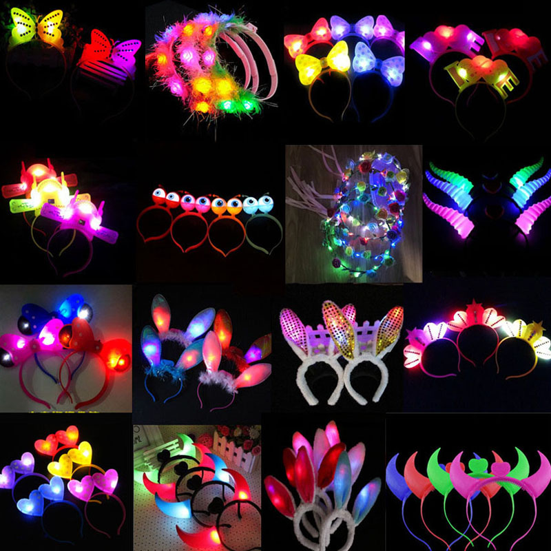 Women Girl Christmas LED Flashing Glow Headband Women Girls Crown Heart Light Up Hairbands Hair Accessories Glow Party Supplies