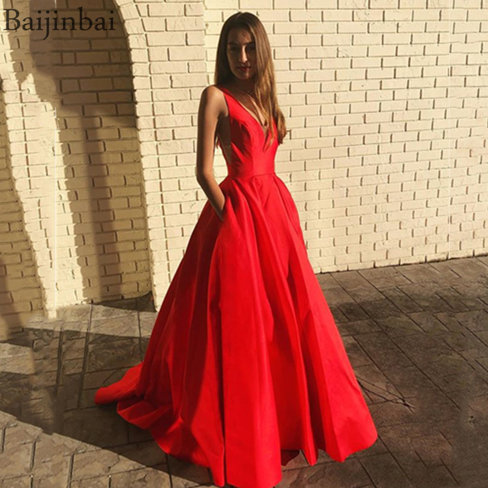 Baijinbai Satin Ball Gown Formal Prom Dresses Illusion V neck Back Party Evening Dress with Pockets