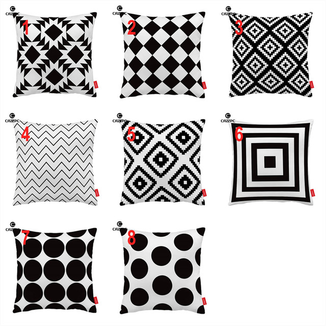 Superb Us 10 48 Black White Abstract Geometric Chic Polka Dot Chevron Print Custom Decorative Pillowcase Cushion Covers Sofa Chair Home Decor In Cushion Gmtry Best Dining Table And Chair Ideas Images Gmtryco