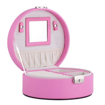 Portable Faux Leather Jewelry Box For Girls Princess