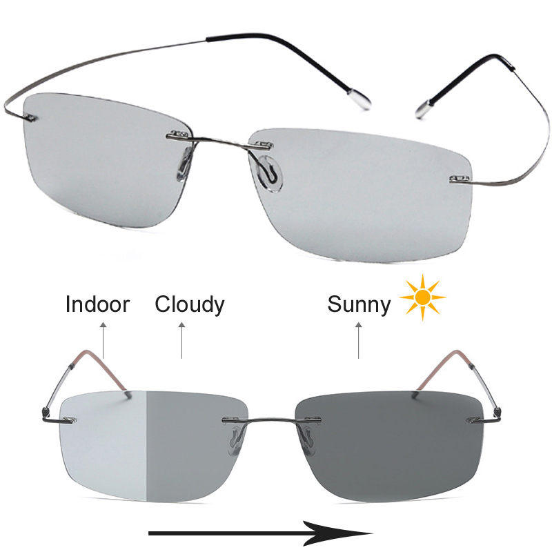 B Titanium Photochromic Polarized Rimless Sunglasses