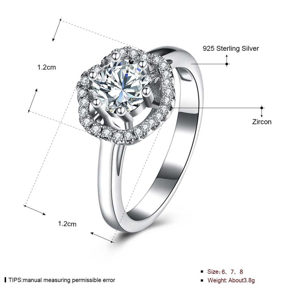 GRACE MOMENTS New Trendy 100% 925 Sterling Silver Big Hexagon Crystal Engagement Ring CZ For Women Luxury Fine Jewelry Gift