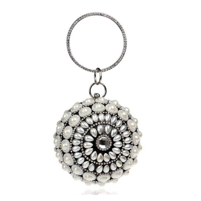 Hot Sale Round Shaped Female Clutch Bags Full Pearls Beaded Women Evening  Clutch Bag Crystal Wedding 4919a7d34140