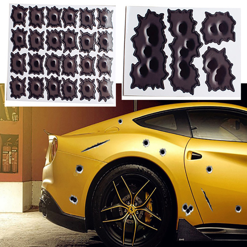 WJ 17*10.5M Reflective Personality 3D Car Styling Fake Bullet Hole Motorcycle Car Decals Creative Sticker Vinyl Car Accessories [haotian vegetarian] antique copper box face page box buckle chinese decoration accessories htn 023