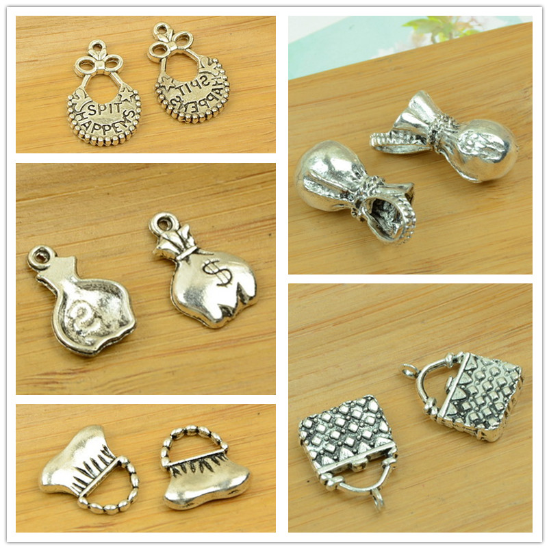 Bag/moneybag/handbag/purse Shape Antique Silver DIY Alloy Charm Pendant Vintage Jewelry Accessories Findings Bracelet Necklace