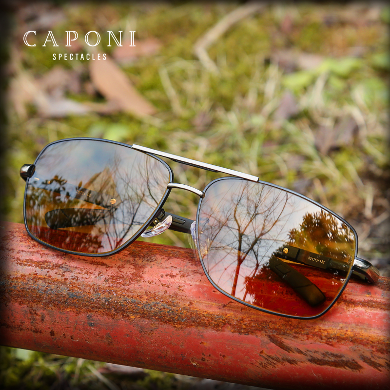 CAPONI Driving Yellow Sun Glasses For Men Photochromic Metal Frame Eyewear Square Men s Sunglasses Polarized
