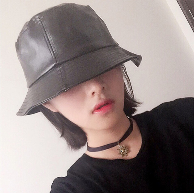 Yyun Women Soft Matte PU Leather Bucket Hat Men Winter Foldable Fisherman  Hat Solid Color Bob Cap 037ad42ac17