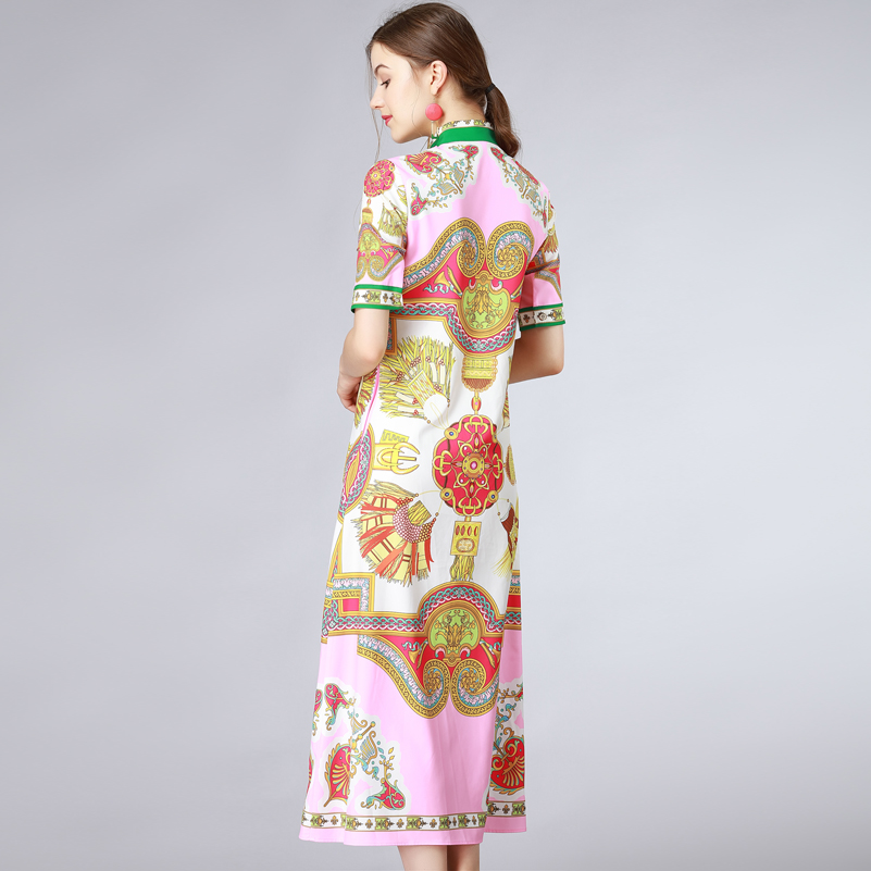 Motif Piste Femmes Multi De Qualité D'été 2018 Vintage Nouvelle Col Robe Haute Arc Mode Imprimer Maxi Longue q7wU4txwzn