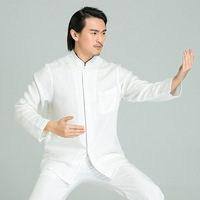 Белые свободные Для мужчин новый тай чи кунг фу набор Китайский Винтаж воротник стойка Хан фу костюм Повседневное одноцветное Шао Lin рубашк