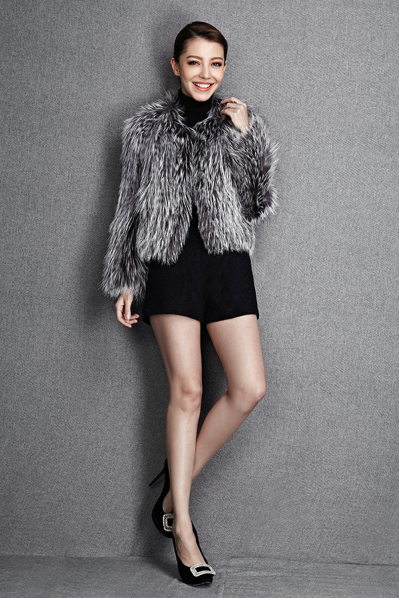 2015 New Arrival 100% Natural Silver Fox Fur Knitted Coat, Women's Real Fox Fur Outerwear SU-1521 EMS Free Shipping 4