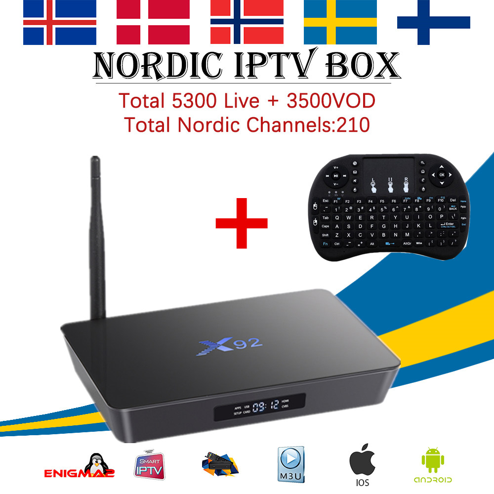 X92 android 7.1 tv box 2g/16g 3g/32g Amlogic s912 4700 + Arabe scandinave Europe Suède USA Danemark Israël IPTV Smart tv box
