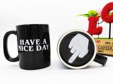 Kostenloser Versand 1 Stück Keramik Mittelfinger Kaffeetassen Persönlichkeit Büro Geschenke Haben Einen Schönen Tag Becher mit handgriff tasse
