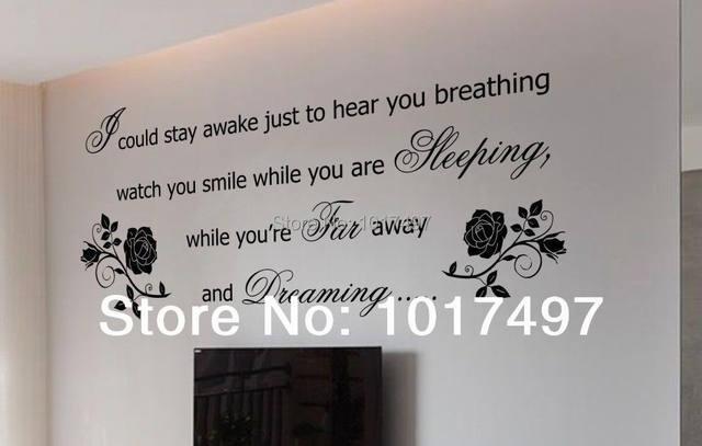 Romantische Wandaufkleber Schlafzimmer Dekor, Aerosmith Texte, ATMUNG, Rose  Schlafzimmer Wandkunst Dekoration Freies Verschiffen L1006