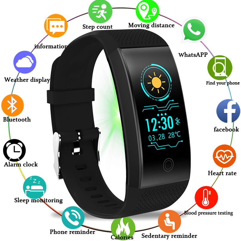 BANGWEI Fitness Women Men Smart Wrist Bluetooth Heart Rate Blood Pressure Pedometer Clock LED Sport Watch For Android IOS