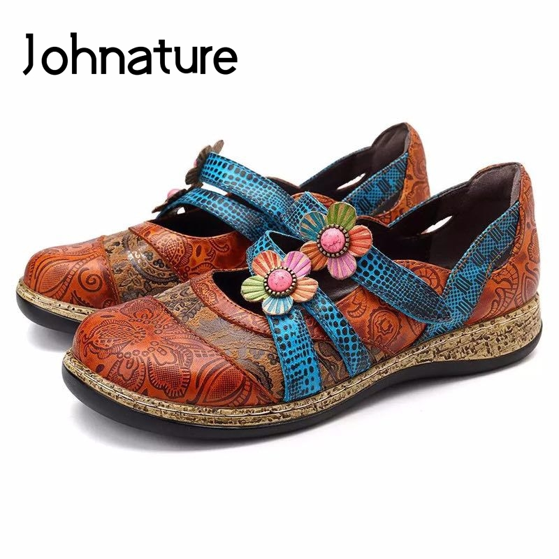 Johnature Ladies Shoes Casual Floral Slip-on Round Toe 2019 New Autumn Shallow Wedge Embossing Retro Women Shoes Pumps(China)