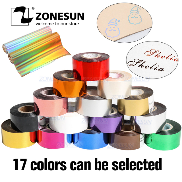 ZONESUN Hot stamping foil Free shipping 3cm hot stamp ribbon date coding foil paper, hot stamping foil paper, hot foil paper