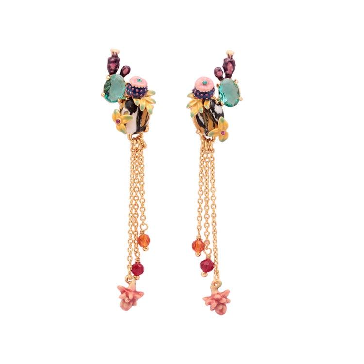 Cactus Teal Cristal Gland Long Fantaisie Boucles D'oreilles Mode Bijoux Sieraden Joyas Charme Bijoux Boucle D Oreille Boucles D'oreilles
