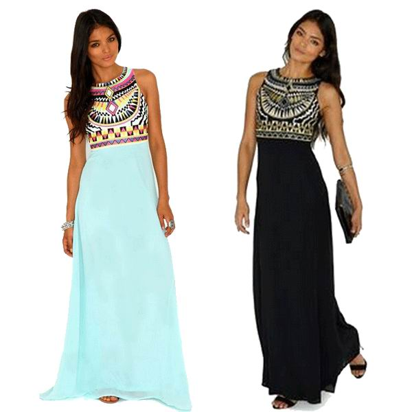 e24fb9dace055 2015 Ethnic Print Fashionable Round Collar Maxi Dress For Women 3SW24001  Free Shipping fashion long dress