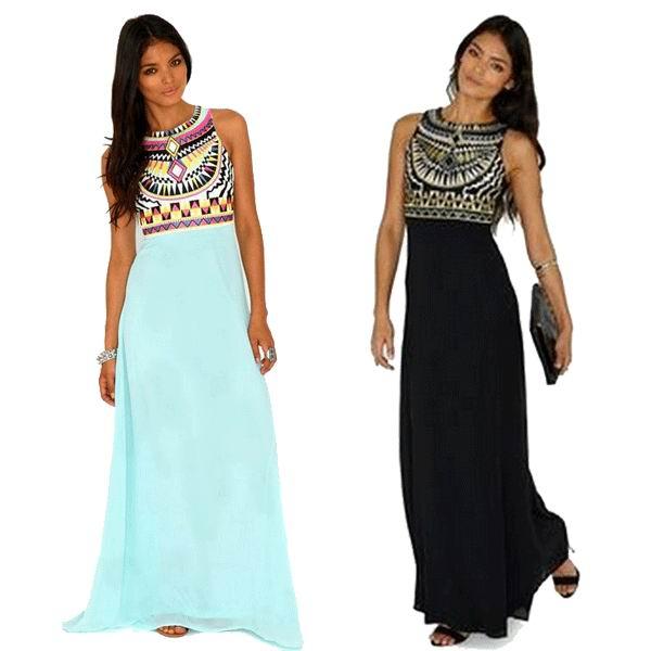 ⑧2015 collar redondo de moda étnico de la impresión Maxi vestido ...