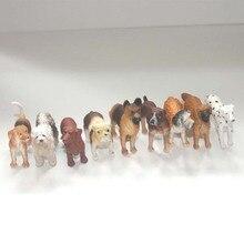 artificial pvc figure pet dogs model toy gift 9pcs/set