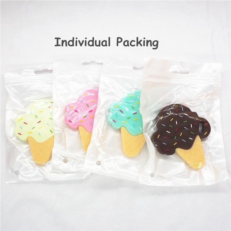 Купить с кэшбэком Chenkai 10PCS BPA Free Silicone Ice Cream Teether DIY Newborn Baby Pacifier Nursing Chewing Mommy Jewelry Grib Crafts Toy Gift