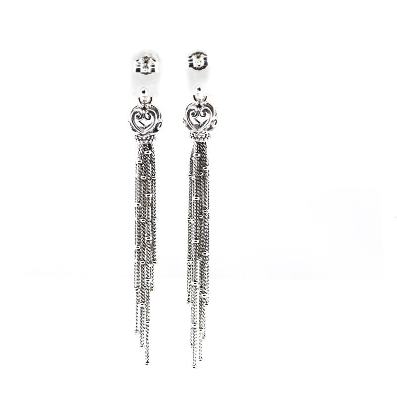 Pandulaso Enchanted Tassels Drop Earrings for Women 2018 New Silver Long Drop Earrings Fashion 925 Sterling Silver Jewelry Gifts