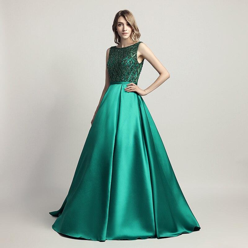 Elegant Long Evening Dresses A Line Crystal Luxury Party Gowns Sleeveless Vestido Zipper Backless Formal Robe De Soiree LSX443