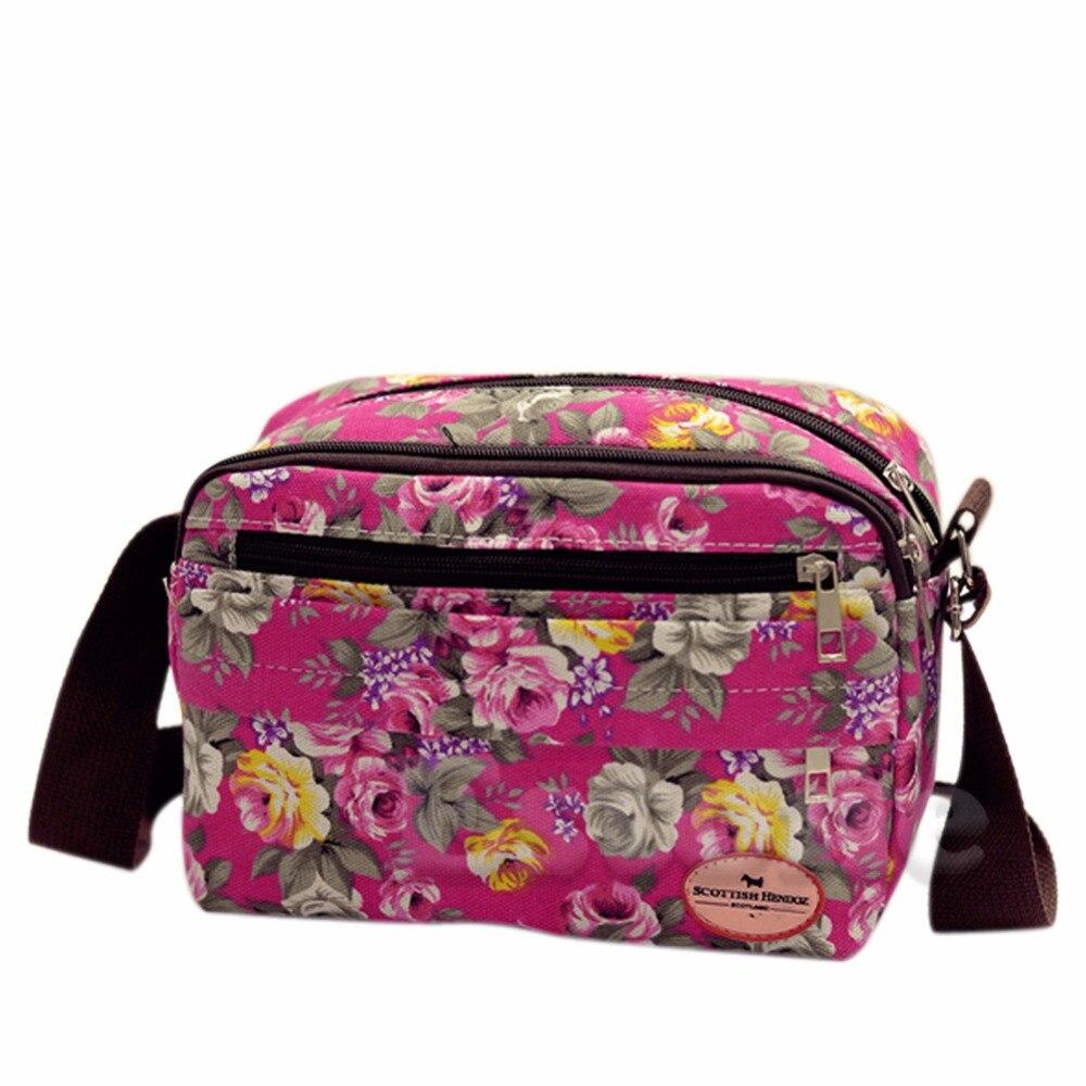 THINKTHENDO Fashion Women Print Boho Handbag Satchel Tote Canvas Beach Purse Shoulder Bag Flat Handbag