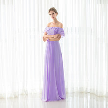 Backlackgirl Hot Cheap Purple Bridesmaid Dresses New Arrival Long Chiffon  Lace Up Back Wedding Party Gown Plus Size Custom Made 7b8cf86df3a4