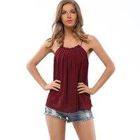 Sexy Summer Camisole Femme Spaghetti Strap Crochet Halter Tops Chiffon Vest Women Camis Blusa Shirt White