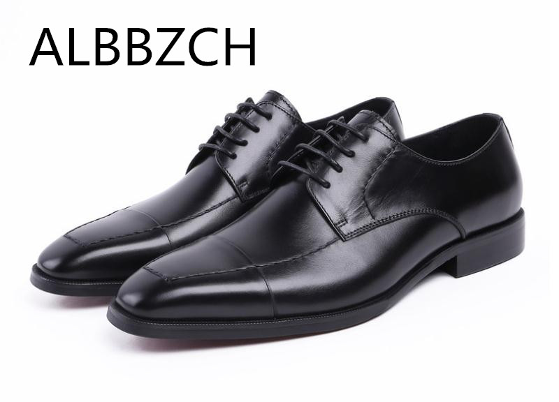 Genuine Leather Dress Men Shoes Quality Derby Office Work Shoes Fashion Patchwork Sewing Design Business Leisure Shoes Size38-44Genuine Leather Dress Men Shoes Quality Derby Office Work Shoes Fashion Patchwork Sewing Design Business Leisure Shoes Size38-44