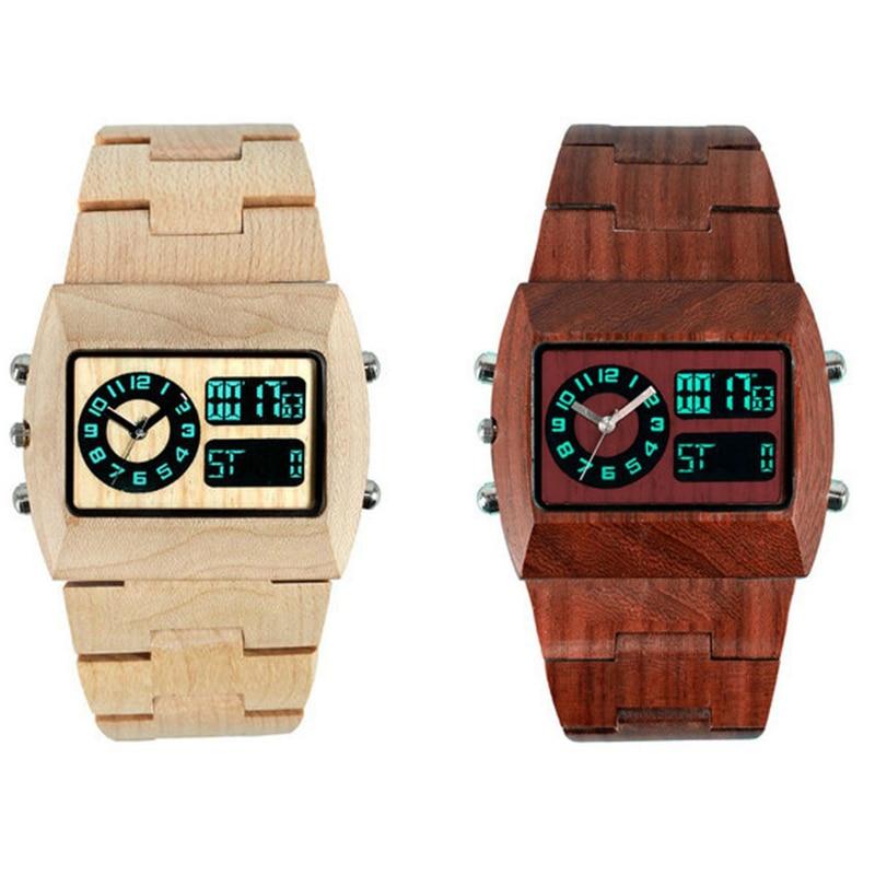 Натуральные Деревянные Часы унисекс для LED Show Наручные часы Мода цифровой аналоговый оригинальные деревянные часы Для мужчин Для женщин Lover...
