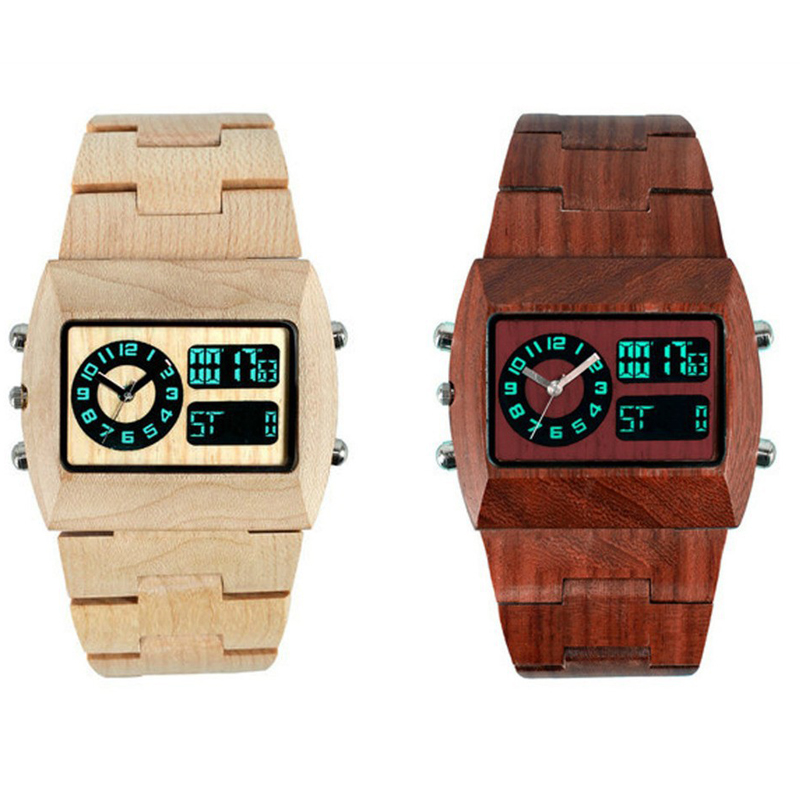 все цены на Natural Wooden Watches For Unisex LED Show Wristwatches Fashion Digital Analog Original Wood Watch Men Women Lover Luxury Brand онлайн