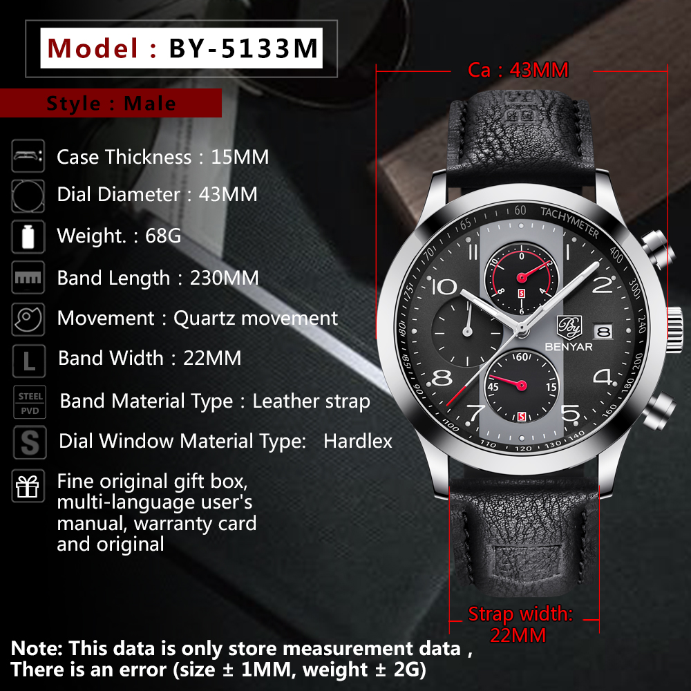 Topdudes.com - BENYAR Waterproof Sport Retro Leather Quartz Chronograph Watch