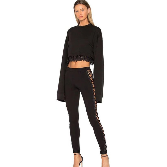83fbcfcda47e7 2017 New Fashion Women Spring High Waist Hollow Out Side Stripe Lace Up  Western Street Style Leggings Ankle-Length Pants