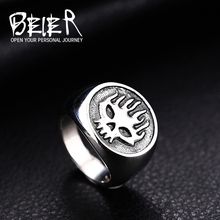 BEIER Cool Motorcycle Biker Fire Man Stainless Steel Flame Skull Classic Ring Jewelry Wholesale Cheap Price BR8-315(China)